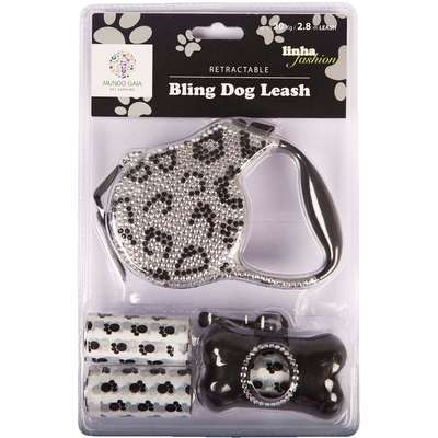 Kit Fashion Bling Dog Leash Universal - Preto com Prata