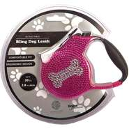 Guia Retrátil Bling Dog Leash - Rosa com Prata