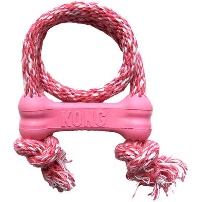 Brinquedo Interativo Kong Goodie Bone With Rope com Dispenser para Petisco Rosa