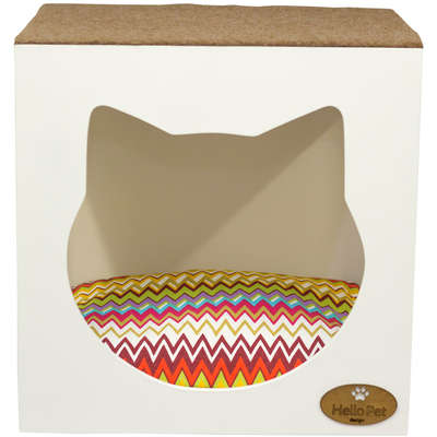 Cama Hello Pet Chevron Colors com Arranhador Branco
