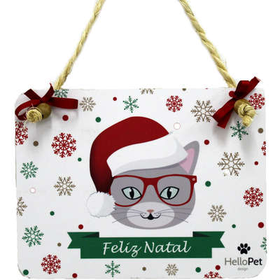 Enfeite para Porta Hello Pet Placa Decorativa Natal Cat