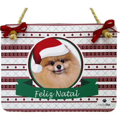 Enfeite para Porta Hello Pet Placa Decorativa Natal Lulu